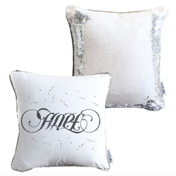 Faith, Hope Ambigram Decorative Pillow w/ Silver & White Reversible Sequins