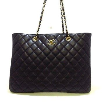 Auth CHANEL Matelasse/Large Shopping Bag A91046 Black Calf Skin Tote Bag