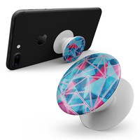 Vivid Blue and Pink Sharp Shapes - Skin Kit for Pop Sockets and other Smartphone Extendable Grips & Stands