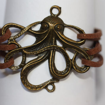 MOVEMENT~ Handmade Wrap Octopus Charm Brown Leather Wrap Multilayer Multistrand Handcrafted Gift Bracelet ilovecheesygrits