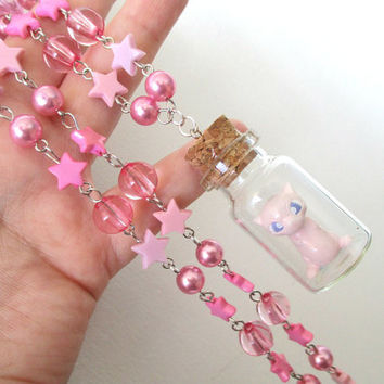 Pokémon Necklace - MEW in a Bottle Beaded Necklace  - Gamer Gear, Fairy Kei
