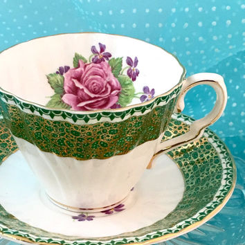 Antique 1940's Gladstone Tea Cup, Glitzy Gold Vintage China Teacup and Saucer, Tea Party, High Tea