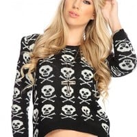 Black Knitted Skull Pattern Pull Over Sweater