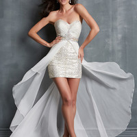 Sweetheart Ruched And Beaded Formal Prom Dress Night Moves 7094