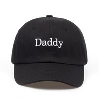Daddy Black Embroidered Cotton Dad Hat
