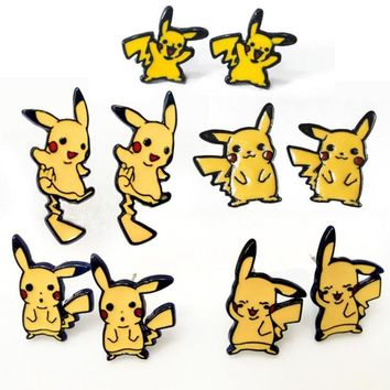 New Design Cute  go cosplay Earrings Hot Game Anime Cartoon Pocket Monster Pikachu Stud Earrings bijoux  Jewelry BrandKawaii Pokemon go  AT_89_9