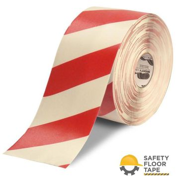 """6"""" White Tape with Red Chevrons - 100'  Roll"""