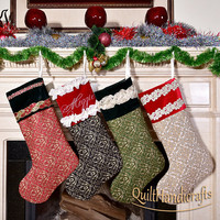 Fireplace decoration Quilted Patchwork Christmas Stocking Personalized Family X-mas  Create your own, unique design Heirloom Christmas