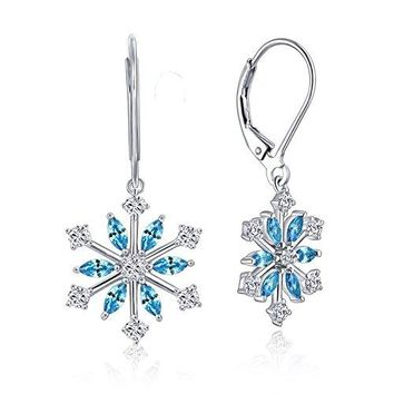 YH JEWELRY Women's 925 Sterling Silver Blue and White CZ Snowflake Flower Drops Hook Dangle Leverback Earrings Gift