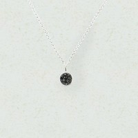 Twinkle Black Druzy Round Pendant Necklace 925 Sterling Silver