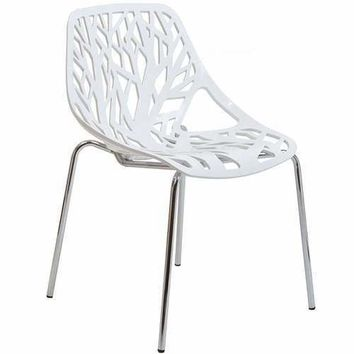 Stencil Dining Side Chair White