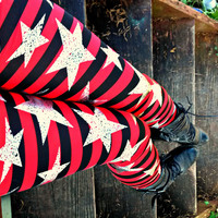 Punk Pirate Star and stripes Leggings pants lycra