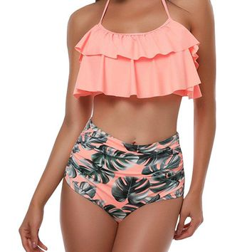 YOMISOY Womens High Waisted Swimsuit Layer Ruffle Flounce Halter Floral Bikini Suit