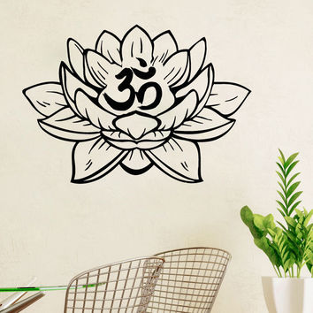 Om symbol Wall Decals Lotus Flower Yoga Om Vinyl Sticker Home Decor Art SM136