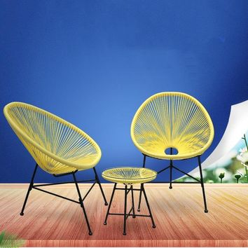 LK578 3PCS Balcony Cafe Table&Chairs Set Creative Breathable Moon Chair Heavy Loading Plastic Wire+steel Patio Furniture Set