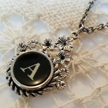 Letter A Typewriter Key Necklace, Black Antique Typewriter Key, 24 Inch Chain, Initial A Jewelry, Steampunk Pendant, Floral Filigree Setting