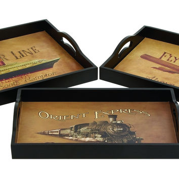 Wood Leather Tray S/3 Hand Painted