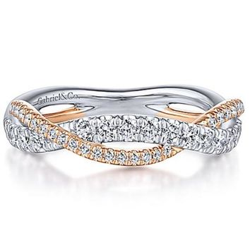 Gabriel Bypass Twist Two-Tone Diamond Wedding Ring