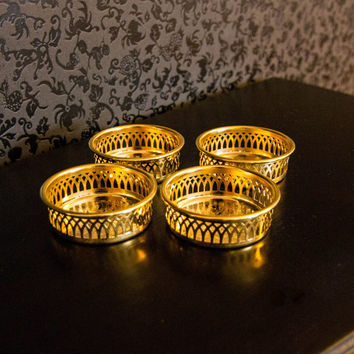 Scandia Guld/Gold Set of 4 Coasters 24K Gold Plated 1980s Sweden