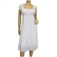 Plus Size White Cotton Empire Waist SunDress $39.99