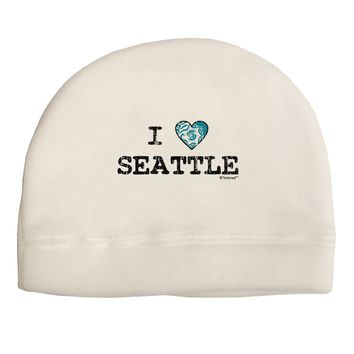 Distressed I Heart Seattle - Heart Flag Adult Fleece Beanie Cap Hat by TooLoud