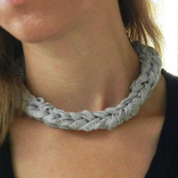 Gray Fabric Weaved Necklace - Jersey Knit Necklace - Cloth Jewelry - Woven Necklace - Choker Necklace - Upcycled