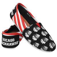 NHL Chicago Blackhawks Women's Canvas Stripe Shoes, Medium (7-8), Black