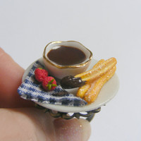 Churros and Chocolate Miniature Food Ring - Miniature Food Jewelry