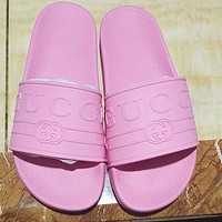 GUCCI 2018 summer counter new men and women with the same beach shoes slippers F-ALS-XZ Pink