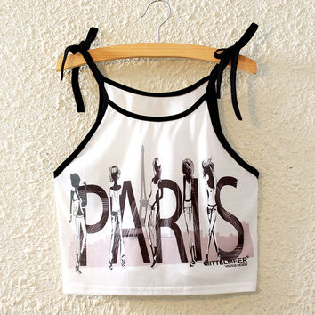 New Summer Fashion Paris Girl Pattern Print Midriff Crop Tops Sleeveless Casual Vest = 4765283204