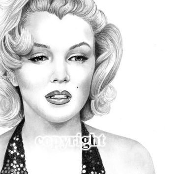 Marilyn Monroe, Pencil Drawing, Celebrity Portrait, 8x10 Fine Art Print by Wendy Hogue Berry
