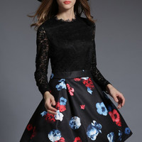 Black Lace Long Sleeve Floral Spliced Dress