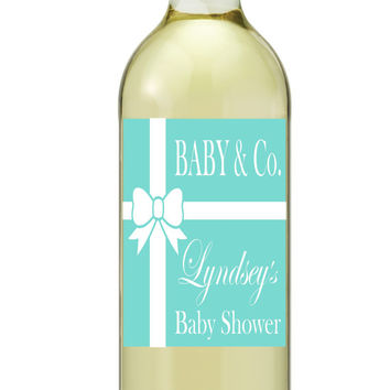 Baby Girl Baby Boy Baby Shower Wine Labels Tiffany Blue Tiffany Inspired Customized Set of 4