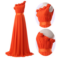 Orange One Shoulder Ruffled Flower Fringed Chiffon Maxi Dress