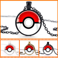 2015 Fashion New Pokemon Inspired Silver Pendant Necklace Anime Vintage Gold Cabochon Pokemon Necklace boys Girls Jewelry Gift