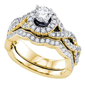 14kt Yellow Gold Women's Round Diamond Twist Halo Bridal Wedding Engagement Ring Band Set 1.00 Cttw - FREE Shipping (US/CAN)