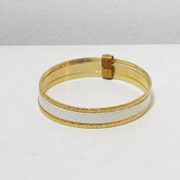 White Bangle Bracelet Set, Gold Tone, Set of 3, Vintage 80s, Costume Jewelry