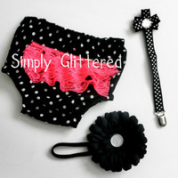 Bloomer & Headband Set with Pacifier Clip