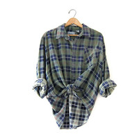Vintage Plaid Flannel / Grunge Shirt / Boyfriend Button Up Shirt / Worn in Flannel