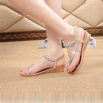2017 Hot Sale Low Price Woman Summer Sandals Rhinestone Flats Platform Wedges Shoe Women's footwear sandals zhenskie step-ins