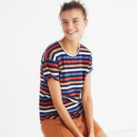 Whisper Cotton Crewneck Tee in Lennie Stripe : shopmadewell short-sleeve tees | Madewell
