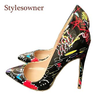 Stylesowner 2018 New designer red heart black high heeled pumps shoes sexy pointed toe thin heel beautiful shoes size 33-44