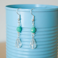 Handmade Silver Plated Hypo-Allergenic Dangle Bead Earrings Turquoise Colored Clear Pendants Classy Fancy