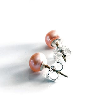 Small pink pearl post earrings, pink freshwater pearl stud earrings with solid sterling silver posts , 6mm pearl studs, simple pearl jewelry