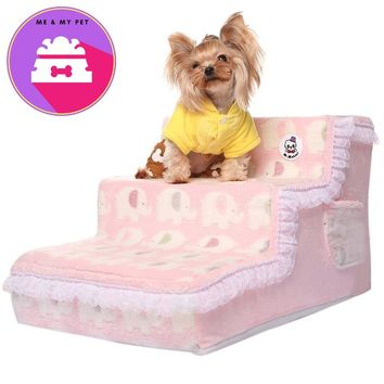 New Arrival Pet Products Dog Beds Removable Dog House Lace Pattern Pet Bed Stairs Plush Cover Puppy Stairs