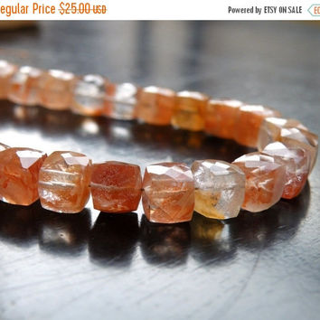 Super SALE Sunstone Gemstone Faceted Cube Champagne Peach 7mm 14 beads 1/2 strand