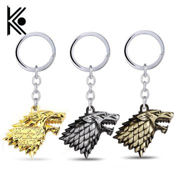Game of Thrones Keychain House Stark Winter Is Coming 3D Metal Badge Pendant Keyring Wolf Head Key Chain Ring for Fans