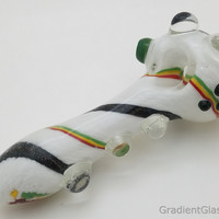 Large White Dichroic Rasta Glass Pipe