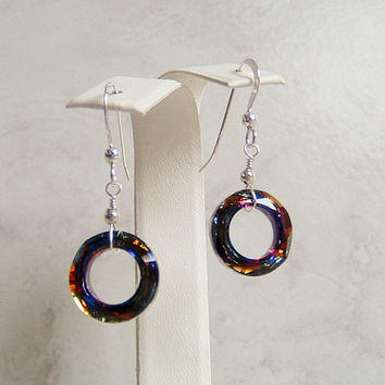 Volcano Cosmic Round Ring Crystal Sterling Silver Earrings Swarovski  Elements 14MM 49cc5ac67