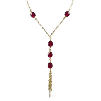 Garnet 6mm Faceted Beads Tassel Style Necklace, Gold Plated Brass Chain, 16